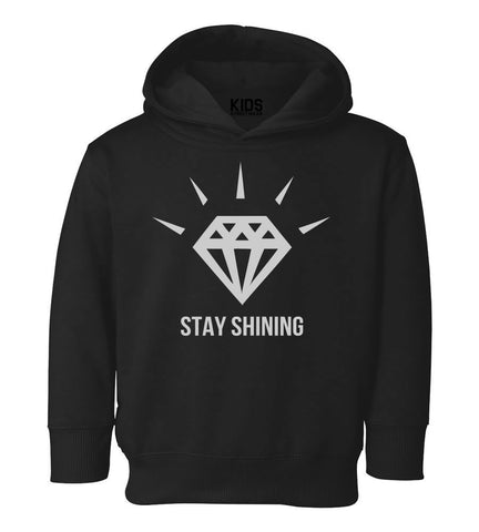 Stay Shining Diamond Toddler Kids Pullover Hoodie Hoody in Black