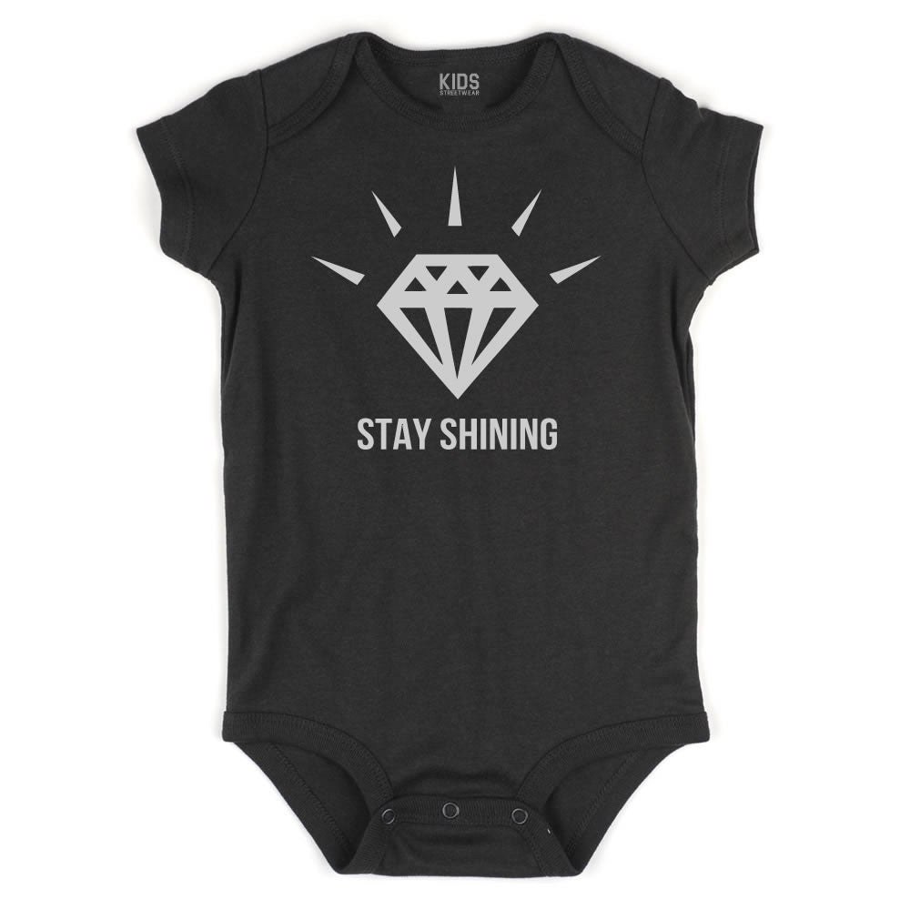 Stay Shining Diamond Infant Onesie Bodysuit in Black