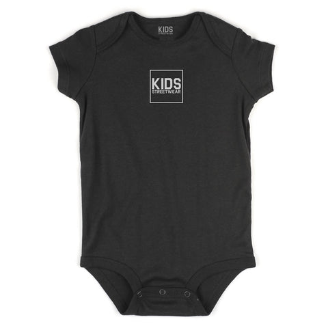 Small Kids Streetwear Logo Infant Onesie Bodysuit in Black