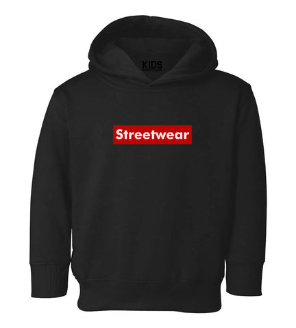 Streetwear Red Box Logo Toddler Kids Pullover Hoodie Hoody in Black