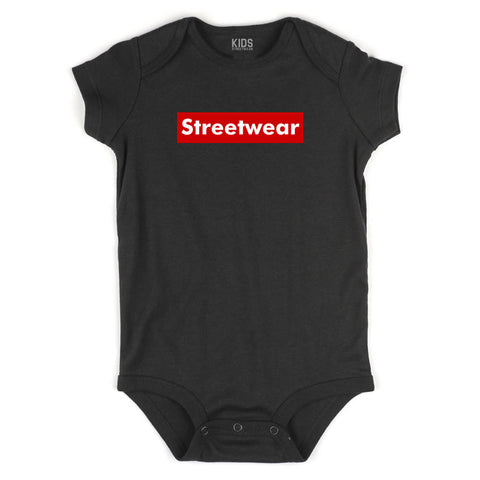 Streetwear Red Box Logo Infant Onesie Bodysuit in Black