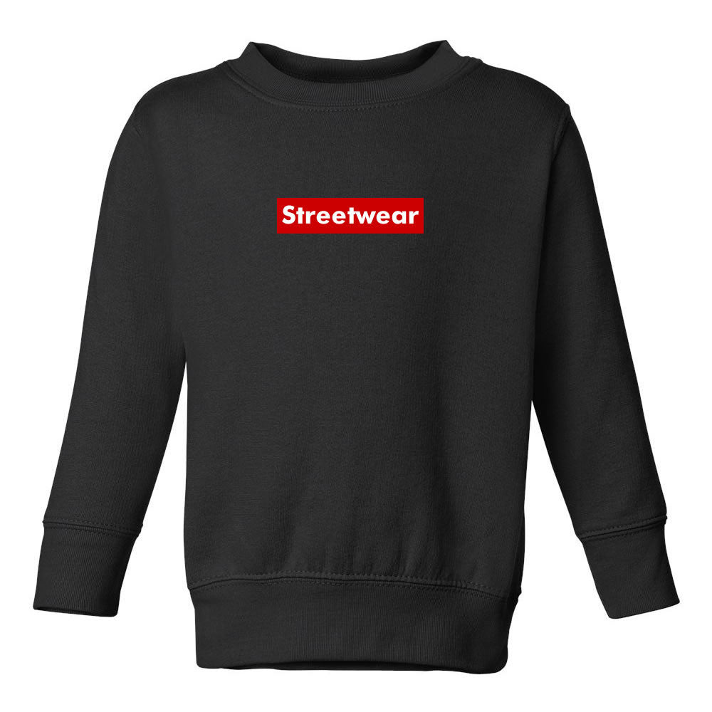 Streetwear Red Box Logo Toddler Kids Sweatshirt in Black