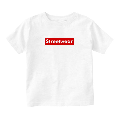 Streetwear Red Box Logo Infant Toddler Kids T-Shirt in White