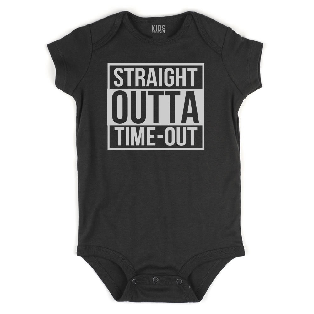 Straight Outta Time Out Infant Onesie Bodysuit in Black
