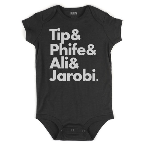Tip Phife Ali And Jarobi Tribe Infant Onesie Bodysuit in Black