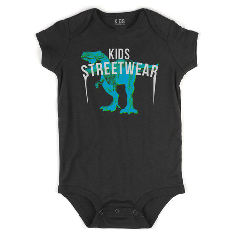 T-Rex Dinosaur Streetwear Infant Onesie Bodysuit in Black