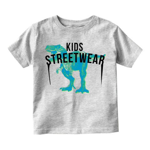 T-Rex Dinosaur Streetwear Infant Toddler Kids T-Shirt in Grey