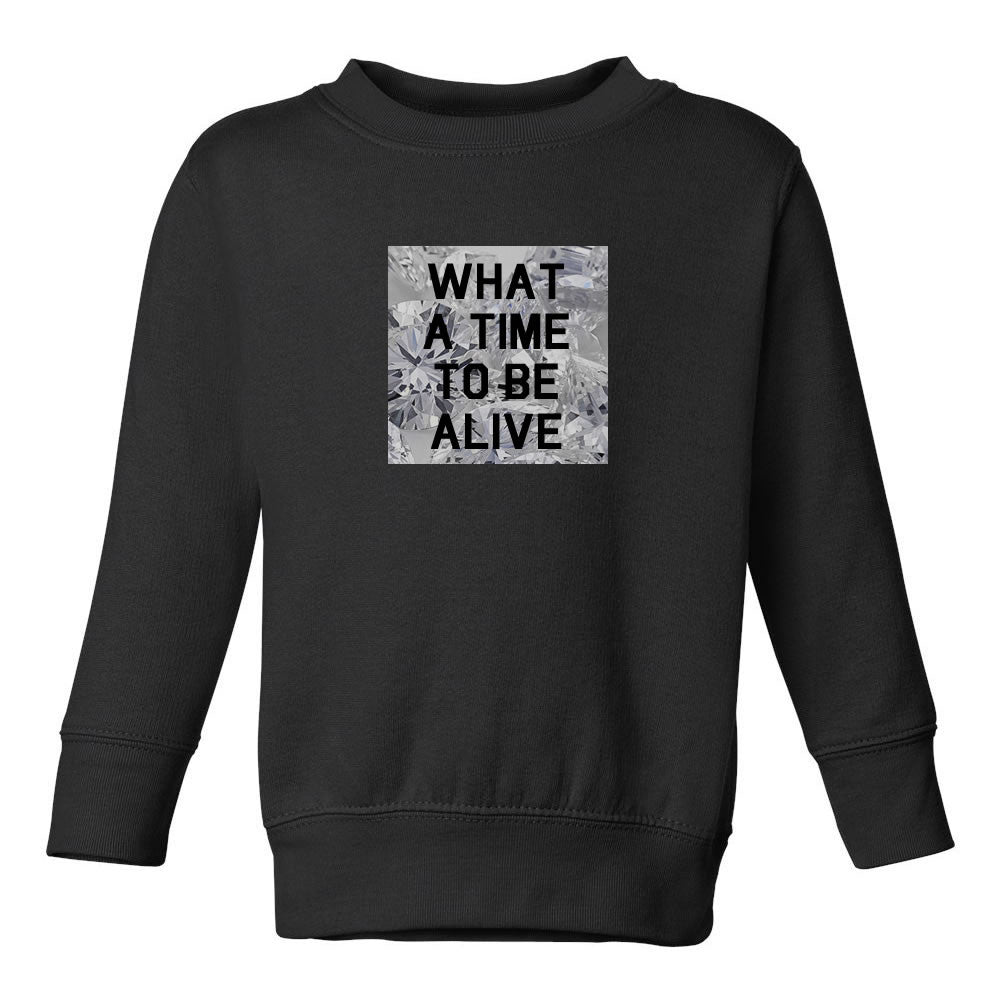 What A Time To Be Alive Toddler Kids Sweatshirt in Black