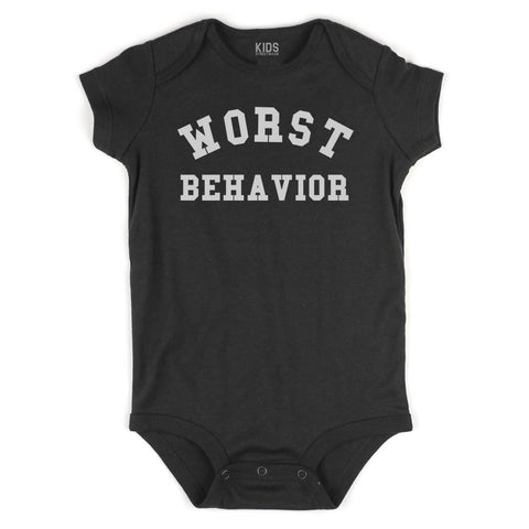 Worst Behavior Infant Onesie Bodysuit in Black
