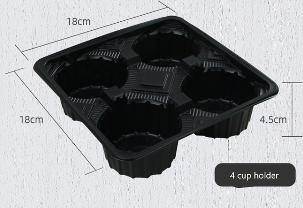 2 Cup, 4 cup holder plastic tray