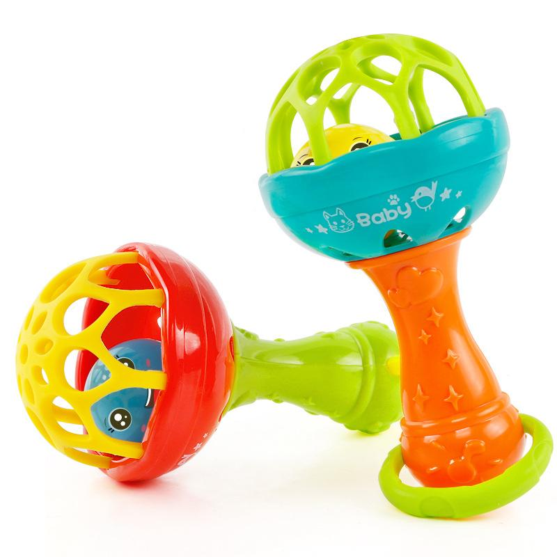 baby rattles toy intelligence grasping gums plastic hand bell rattle