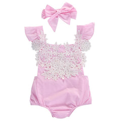 32269192c7dd ... Cute Newborn Infant Baby Girls Clothes Pink Lace Floral Bodysuit Outfits  Sunsuit 0-18M -