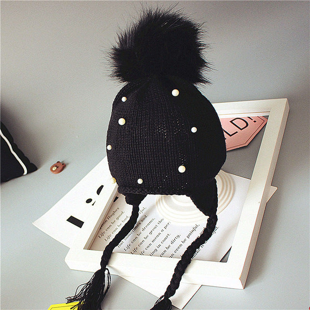 89ba9ad72bc 2018 Baby Winter Hat Fur Pompom Caps bonnet enfant Toddler Boys Girls  Knitted Cap Cotton Protect The Ears Hats Warm Kids Beanie