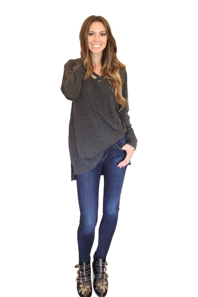 criss cross sweater - charcoal