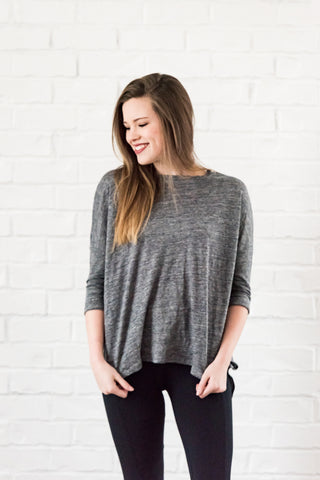 amelie top - charcoal heather