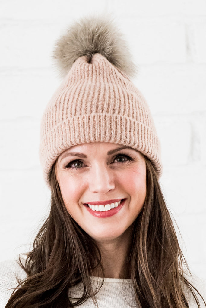 beanie with fox fur pom