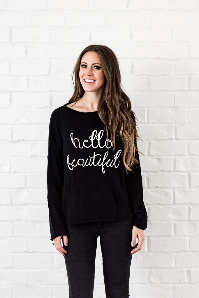 hello beautiful top - black