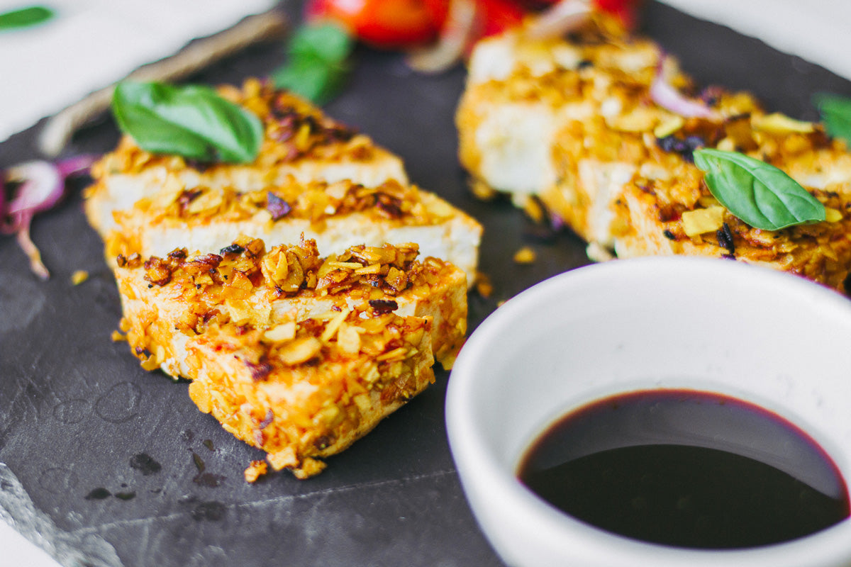 spiced coconut crusted tofu steaks recipe vegan recipe Knowrish Well