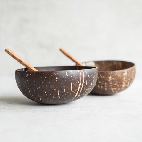 Two Coconut Bowls with Two Coconut Spoons