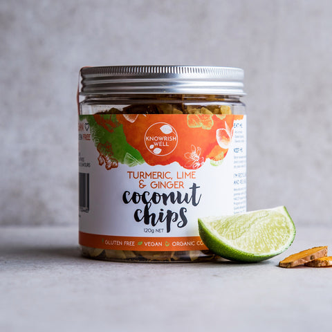Knowrish Well Turmeric Lime & Ginger Coconut Chips 120g jar