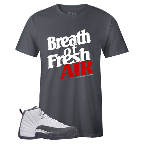 Men's Grey Crew Neck BREATH OF FRESH AIR T-shirt To Match Air Jordan Retro 12 White Dark Grey