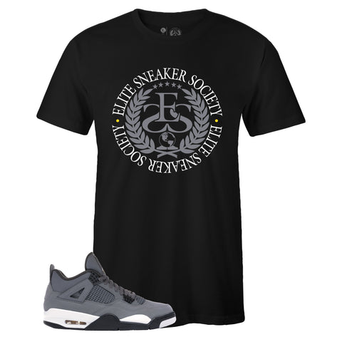 Men's Black Crew Neck ELITE SNEAKER SOCIETY T-shirt To Match Air Jordan Retro 4 Cool Grey