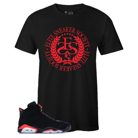 Men's Black Crew Neck Elite Sneaker Society Logo T-shirt To Match Air Jordan Retro 6 Black Infrared