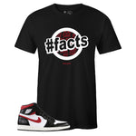 Men's Black Crew Neck FACTS Sneaker T-shirt To Match Air Jordan Retro 1 OG Gym Red