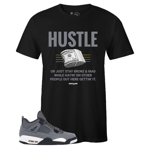 Men's Black Crew Neck HUSTLE T-shirt To Match Air Jordan Retro 4 Cool Grey