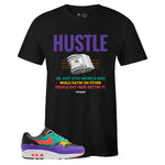 Men's Black Crew Neck HUSTLE Sneaker T-shirt To Match Air Max 1 Windbreaker