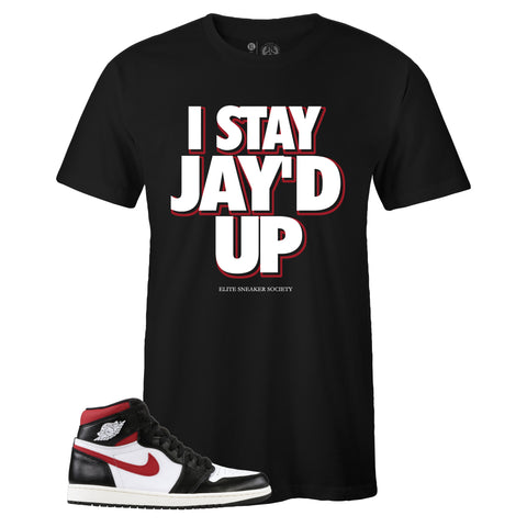 Men's Black Crew Neck JAY'D UP Sneaker T-shirt To Match Air Jordan Retro 1 OG Gym Red