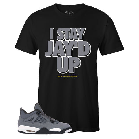 Men's Black Crew Neck JAY'D UP T-shirt To Match Air Jordan Retro 4 Cool Grey