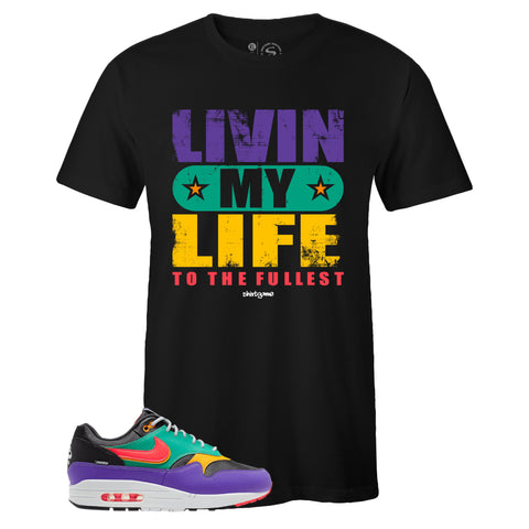 Men's Black Crew Neck LIVIN' MY LIFE Sneaker T-shirt To Match Air Max 1 Windbreaker
