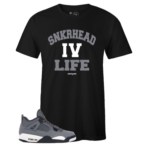 Men's Black Crew Neck SNKRHEAD IV LIFE T-shirt To Match Air Jordan Retro 4 Cool Grey