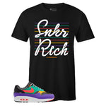 Men's Black Crew Neck SNKR RICH SR19 Edition T-shirt To Match Air Max 1 Windbreaker