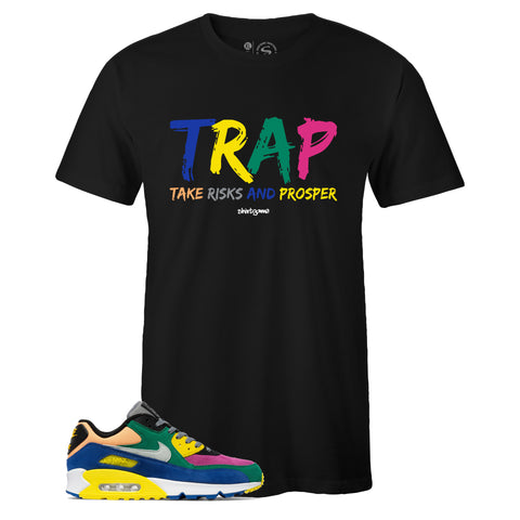Men's Black Crew Neck TRAP T shirt To Match Nike Air Max 90 Viotech 2.0