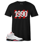 Men's Black Crew Neck 1990 T-shirt to Match Air Jordan Retro 5 Fire Red