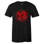 Men's Black Crew Neck 23 T-shirt to Match Air Jordan Retro 12 Reverse Flu Game