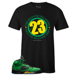 Men's Black Crew Neck 23 T-shirt to Match Air Jordan Retro 5 Oregon Ducks