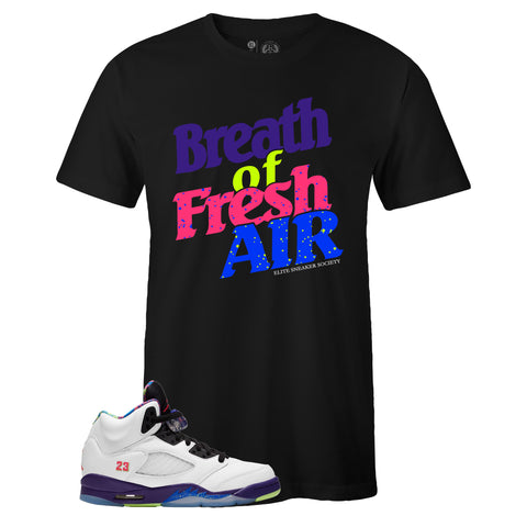 Men's Black Crew Neck BREATH OF FRESH AIR T-shirt to Match Air Jordan Retro 5 Alternate Bel Air