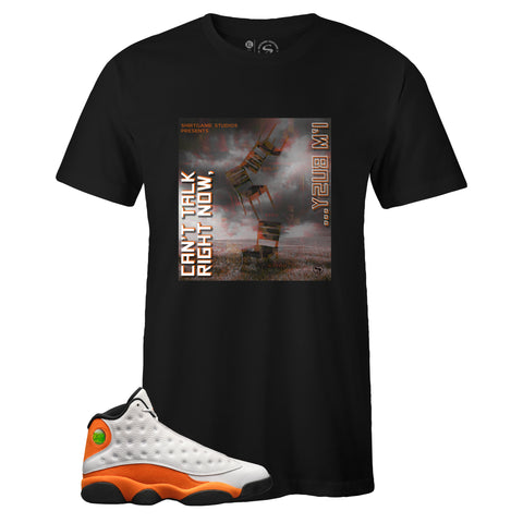 Men's Black Crew Neck BUSY T-shirt to Match Air Jordan Retro 13 Starfish