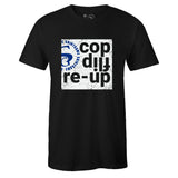 Men's Black Crew Neck COP FLIP RE-UP T-shirt to Match Air Jordan Retro 14 Hyper Royal