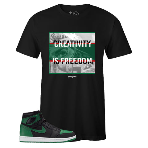 Men's Black Crew Neck CREATIVITY T-shirt to Match Air Jordan Retro 1 OG Pine Green