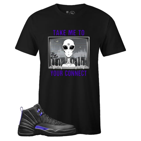 Men's Black Crew Neck CONNECT T-shirt to Match Air Jordan Retro 12 Dark Concord