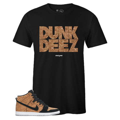 Men's Black Crew Neck DUNK DEEZ T-shirt to Match Nike SB Dunk High Premium Cork