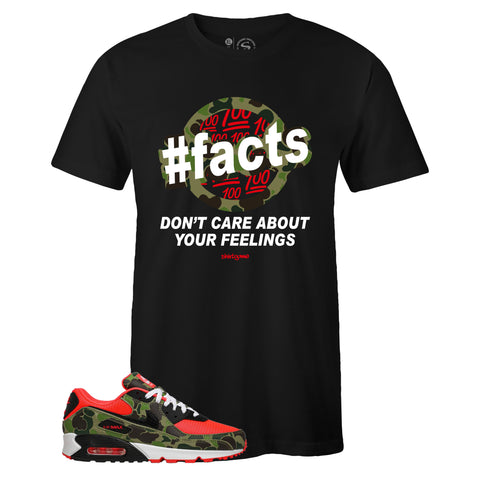 Men's Black Crew Neck FACTS T-shirt to Match Air Max 90 Reverse Duck Camo