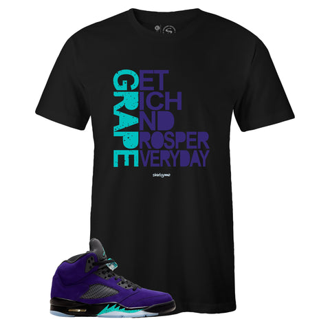 Men's Black Crew Neck GRAPE T-shirt to Match Air Jordan Retro 5 Alternate Grape