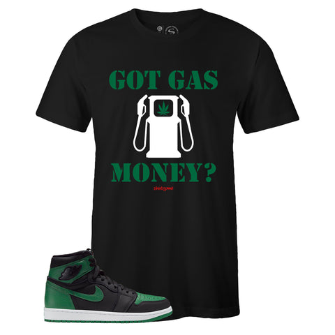 Men's Black Crew Neck GAS MONEY T-shirt to Match Air Jordan Retro 1 OG Pine Green