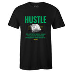 Men's Black Crew Neck HUSTLE T-shirt to Match Air Jordan Retro 5 Oregon Ducks
