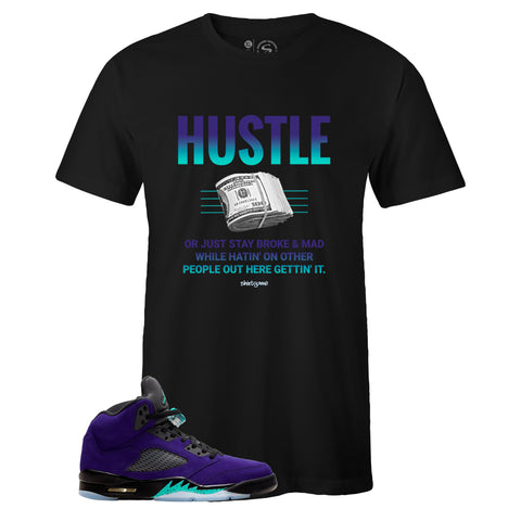 Men's Black Crew Neck HUSTLE T-shirt to Match Air Jordan Retro 5 Alternate Grape